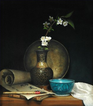 photorealism realism Painting - Heavenly Brushwriting realism still life