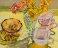 Nasturtiums and Pink Cups JF realism still life