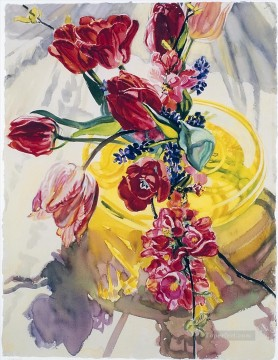 still life lifes Painting - Spring Flowers Yellow Vase JF realism still life