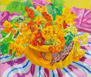 still life lifes Painting - flowers in pot on cloth JF realism still life