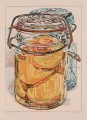 preserved peaches 1975 JF realism still life