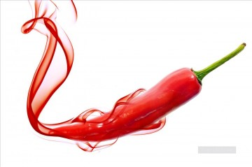 Still life Painting - red hot chili pepper with smoke