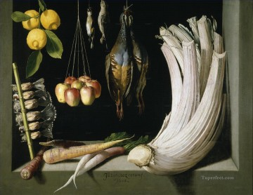 photorealism realism Painting - Game Fowl Vegetables and Fruits realism still life