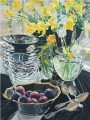 flowers in glass and fruits JF realism still life