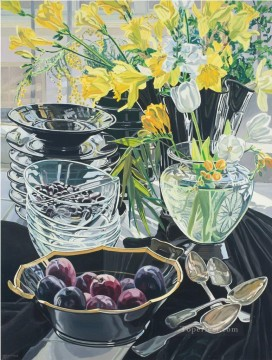 Artworks in 150 Subjects Painting - flowers in glass and fruits JF realism still life