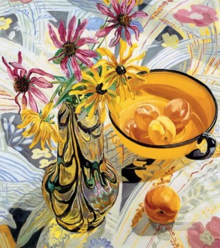 Still life Painting - flowers in glass and peaches JF realism still life