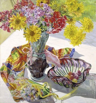 Still life Painting - flowers in glass and scarf JF realism still life
