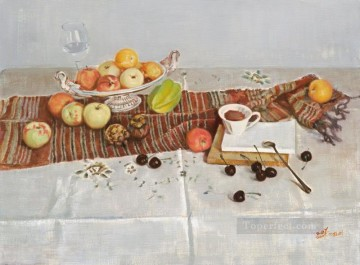 Still life Painting - wine and coffee realism