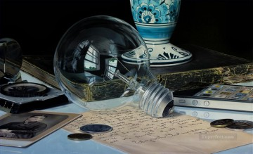 photorealism realism Painting - Aether realism still life
