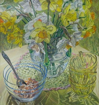 Still life Painting - Daffodils and Cereal JF realism still life