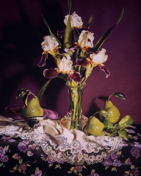 Irises Pears realism still life Oil Paintings