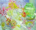 blossoming flowers and glass wares JF realism still life