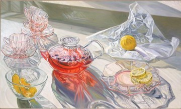 Still life Painting - herb tea 1995 JF realism still life