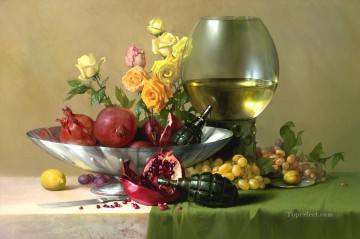 photorealism realism Painting - pomegranate realism still life
