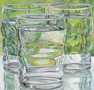 skowhegan water glasses  JF realism still life Oil Paintings