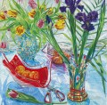 Irises and Red Vase JF realism still life