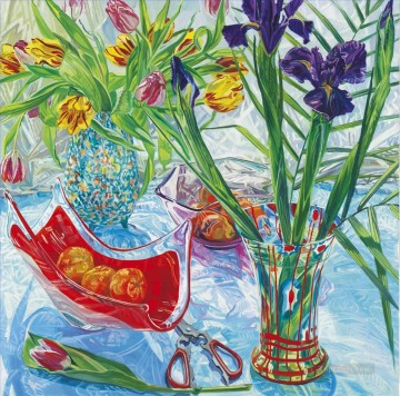 Irises and Red Vase JF realism still life Oil Paintings