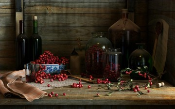 photorealism realism Painting - Cherry Red Wine realism still life