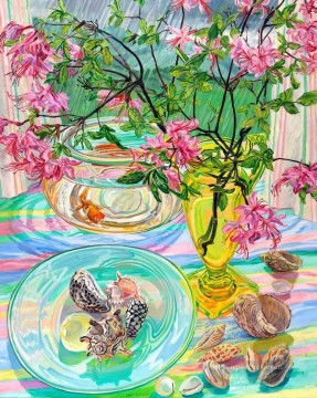 goldfish Painting - flowers seashell goldfish JF realism still life