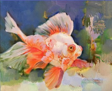 Goldfish in blue 392 textured Oil Paintings
