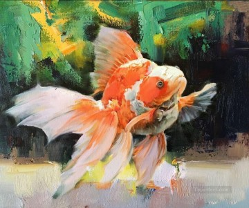 goldfish Painting - Goldfish in green 389 textured