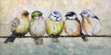 Artworks in 150 Subjects Painting - five birds textured