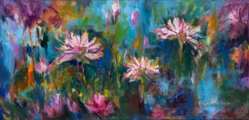 the image of lotus textured Oil Paintings