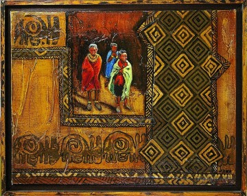 Textured Painting - African boys gold powder with texture