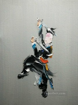hero beijing opera jacky chen Painting - Chinese Opera by Palette Knife 1