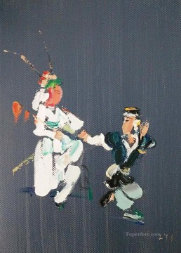 hero beijing opera jacky chen Painting - Chinese Opera by Palette Knife 2