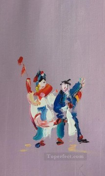 Textured Painting - Chinese Opera by Palette Knife 3