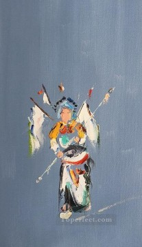 hero beijing opera jacky chen Painting - Chinese Opera by Palette Knife 4
