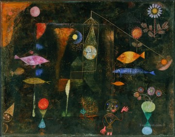 Textured Painting - Fish Magic Paul Klee with texture