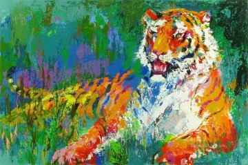 Textured Painting - Resting Tiger with texture