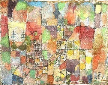 Two country houses Paul Klee with texture Oil Paintings