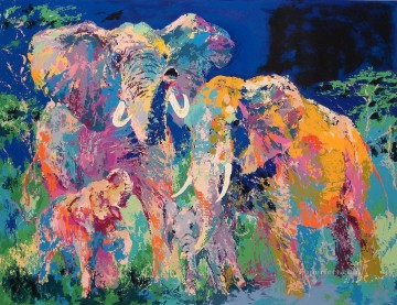 abstract Elephant Family with texture Oil Paintings