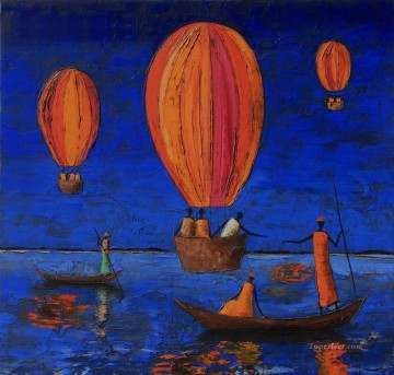 Textured Painting - fire balloon on river with texture