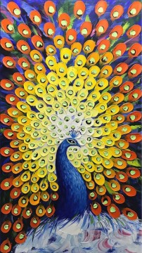 Artworks in 150 Subjects Painting - peacock in blue textured