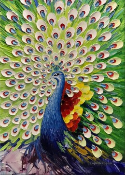 Artworks in 150 Subjects Painting - peacock in green textured