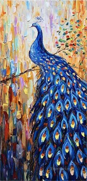 peacock on branch textured Oil Paintings