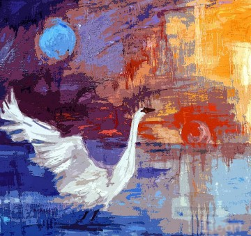 Textured Painting - sun and moon swan rising gi with texture