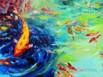 Textured Painting - the fish family 3 textured