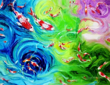 Textured Painting - the fish family textured