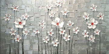 white Flowers 3D Texture Oil Paintings