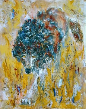 Textured Painting - wolf thick paints with texture