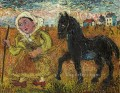 woman in yellow dress with black horse 1951 textured thick paints