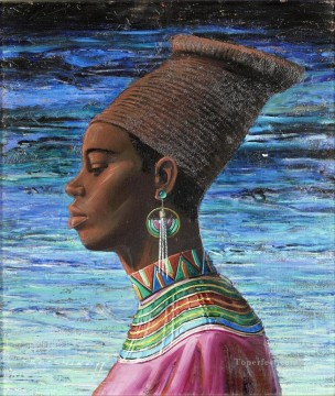 zulu maiden 2 textured thick paints Oil Paintings