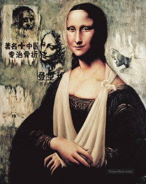 Textured Painting - big fake Mona Lisa 3 textured