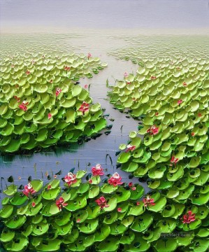 Textured Painting - Lotus pond 3D Texture