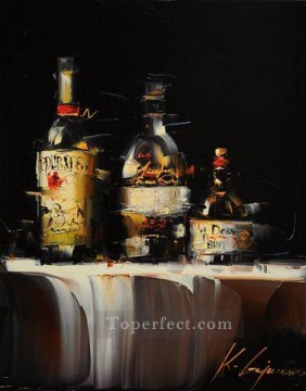 Artworks in 150 Subjects Painting - Wine in black 2 KG textured